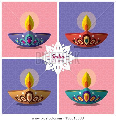 Set of beautiful flat design burning diya (india oil lamp) with decorative pattern background. Diwali or Deepavali oil lamp collection. Festival of Lights icon vector illustration.