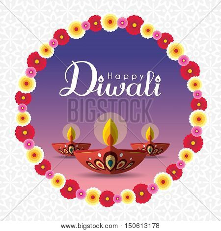 Diwali or Deepavali greeting with beautiful burning diwali diya (india oil lamp) and floral wreath. Festival of Lights celebration vector illustration.