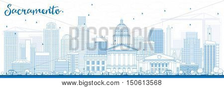 Outline Sacramento Skyline with Blue Buildings. Business Travel and Tourism Concept with Modern Architecture. Image for Presentation Banner Placard and Web Site.