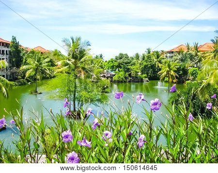 Bali Indonesia - December 25 2008: The Lagoon and park in Ayodya Resort Bali at Nusa Dua Bali Indonesia