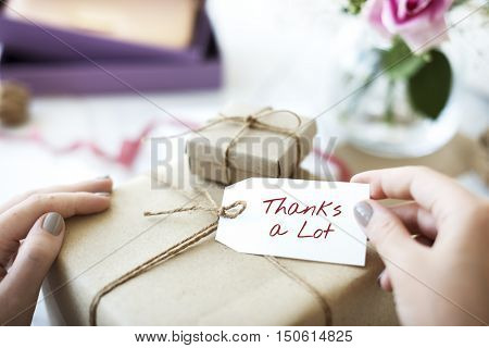 Thanks Lot Word Grateful Handwritten Concept