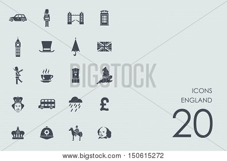 England vector set of modern simple icons