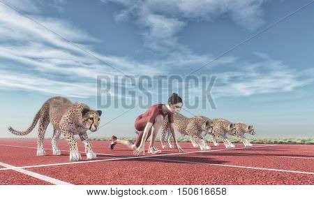 Athletic woman competes with cheetahs on track starting to run. This is a 3d render illustration