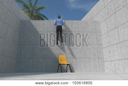 Young man climbed a concrete wall looking over the wall. This is a 3d render illustration