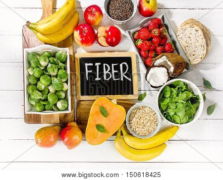High Fiber Foods On A Wooden Background.