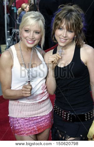 Ashley Peldon and Courtney Peldon at the Los Angeles premiere of 'Exorcist: The Beginning' held at the Grauman's Chinese Theatre in Hollywood, USA on August 18, 2004.