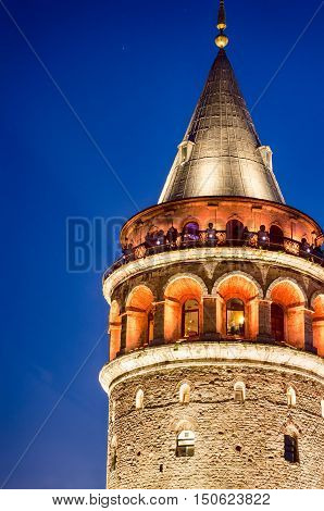 Night view at Galata tower in Taksim. Istanbul.
