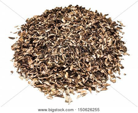pile of dry leaves and twigs isolated on white background