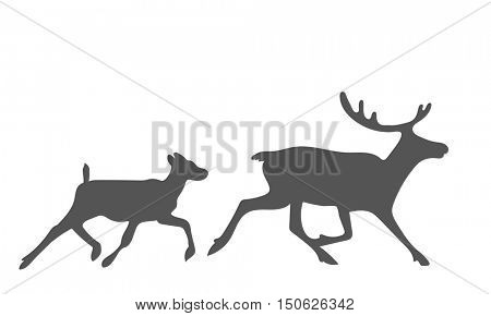 Running reindeers family silhouette Vector illustration