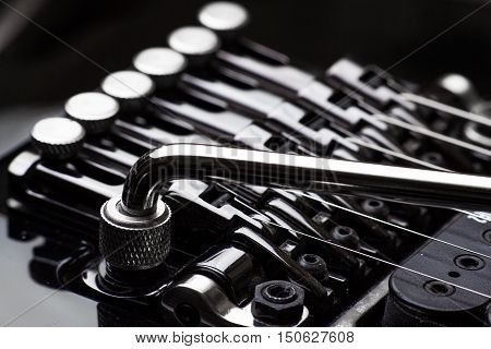 Electric guitar parts tremolo and tuners close-up