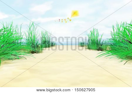 On the sea shore. In the sky kite. 3D illustration