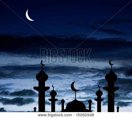 Half moon and a mosque