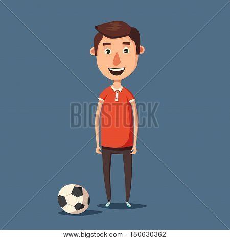 Funny boy, cute character. Vector cartoon illustration. Fotball ball. Happy person. Little sportsman. Fun game