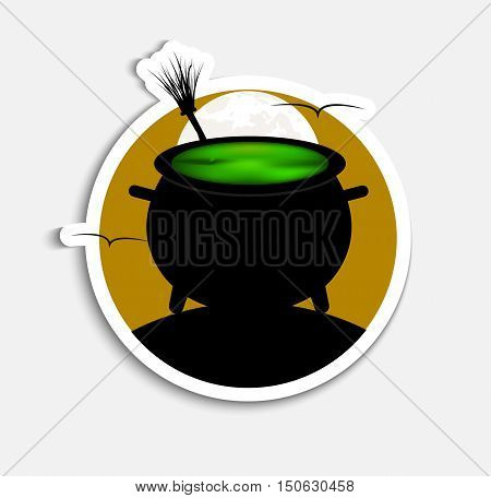 Sticker Template (icons) on Halloween night with orange sky and a green witch potion. Vector illustration