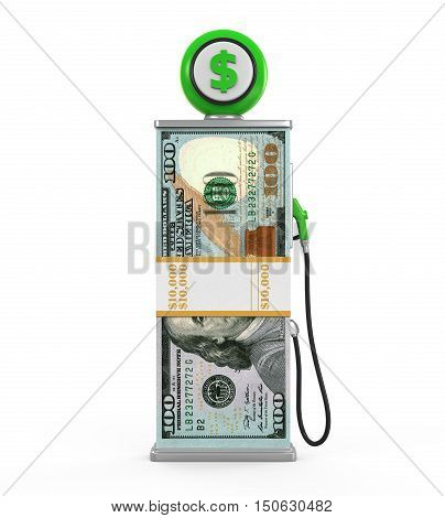 Dollar Stack and Gas Pump Nozzle isolated on white background. 3D render