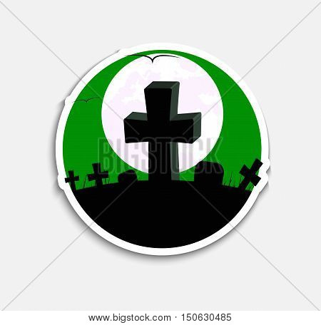 Sticker Design (icons) on Halloween night with a green sky and graves with crosses on the hill. Vector illustration