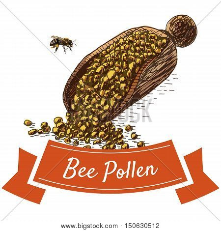 Bee pollen colorful illustration. Vector colorful illustration of bee pollen.