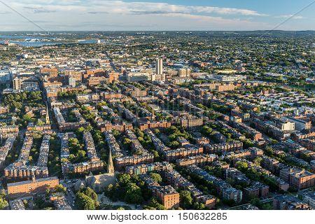 Boston city aerial view USA (top view)
