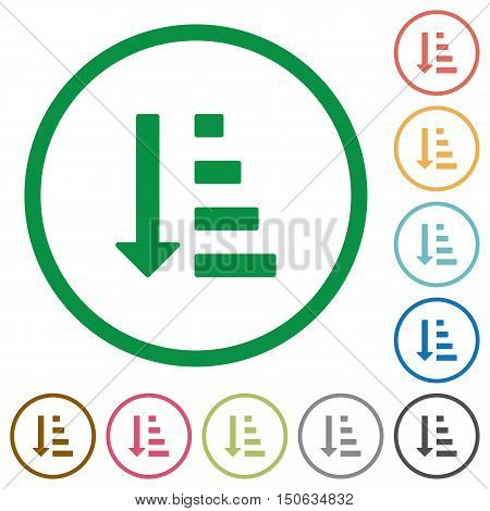 Set of ascending ordered list mode color round outlined flat icons on white background
