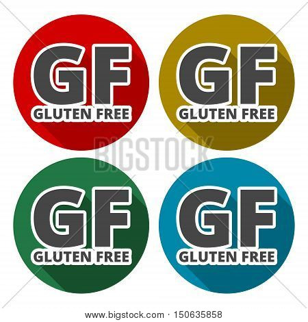 Gluten free Sign icons set with long shadow