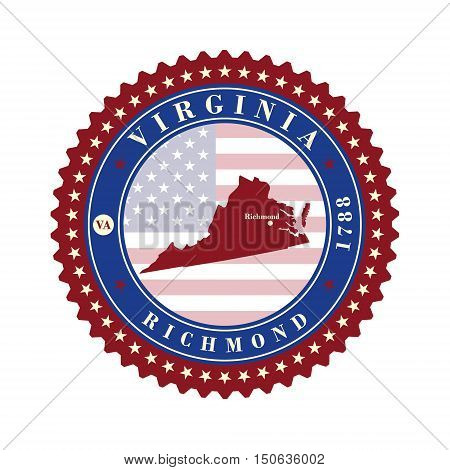 Label sticker cards of State Virginia USA. Stylized badge with the name of the State year of creation the contour maps and the names abbreviations.