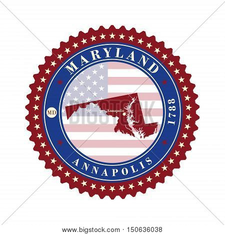 Label sticker cards of State Maryland USA. Stylized badge with the name of the State year of creation the contour maps and the names abbreviations.