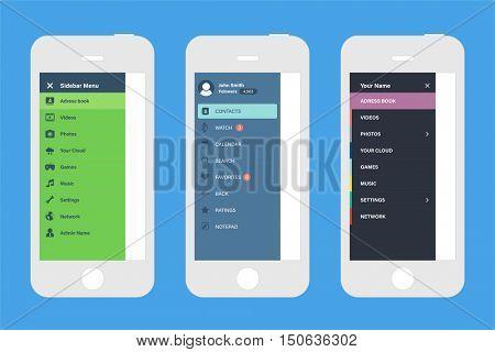 Sidebar navigation screen mockups & mobile UI design elements. Design templates for mobile app development.