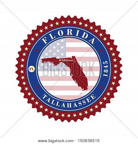 Label sticker cards of State Florida USA. Stylized badge with the name of the State year of creation the contour maps and the names abbreviations.