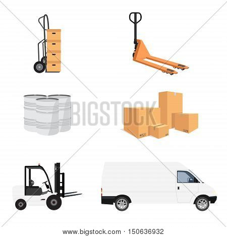 Delivery service icon set. Vector illustration pile of cardboard boxes. Hand truck and loader. Delivery transport mini van. Pallet jack. Barrels