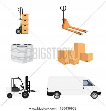 Delivery service icon set. Vector illustration pile of cardboard boxes. Hand truck and loader. Delivery transport mini van. Pallet jack. Barrels