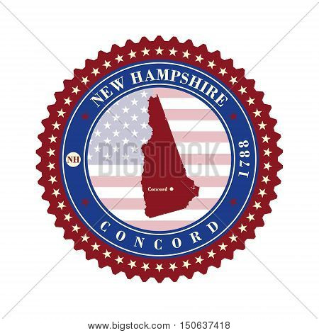 Label sticker cards of State New Hampshire USA. Stylized badge with the name of the State year of creation the contour maps and the names abbreviations.