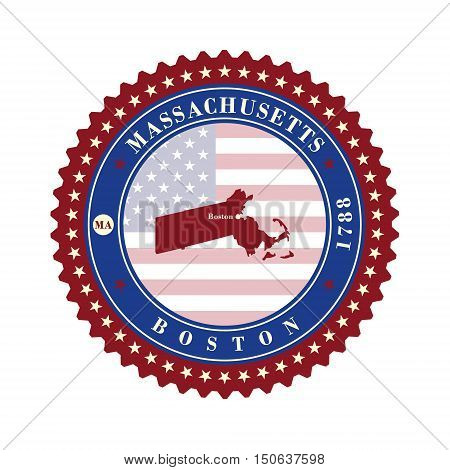 Label sticker cards of State Massachusetts USA. Stylized badge with the name of the State year of creation the contour maps and the names abbreviations.