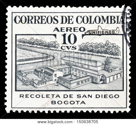 COLOMBIA - CIRCA 1954 : Cancelled postage stamp printed by Colombia, that shows Retreat of San Diego.