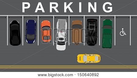 Vector illustration top view parking lot concept. Sport car pick up car sedan car and offroad car. Parking zones. Car park