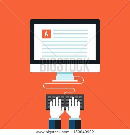Blog, Copywriting. Flat design modern vector illustration concept.
