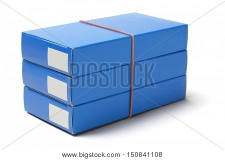 Stack of Medicine Cardboard Boxes on White Background