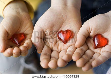 Three little hearts