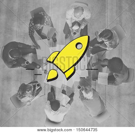 Startup Launch Business Goals Rocketship Concept