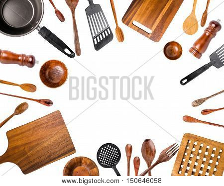 Kitchen Utensils/Various Kitchen Utensils isolated on white background. Top view