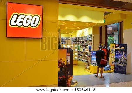 SINGAPORE - 02 OCT 2016: People shop at Lego Store on Festive Hotel in Sentosa Singapore.