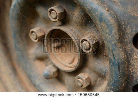 old rusty metal alloy wheel car vehicle