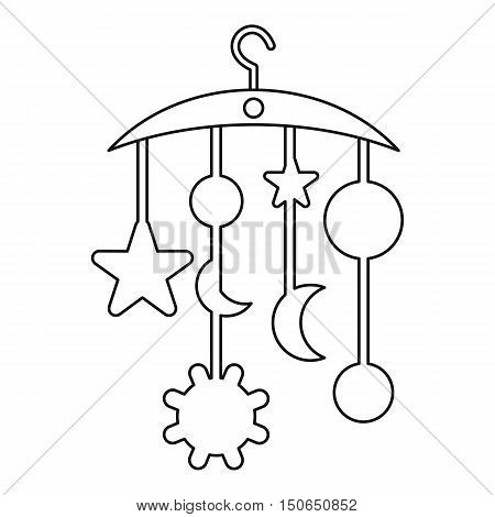 Baby bed carousel icon in outline style on a white background vector illustration