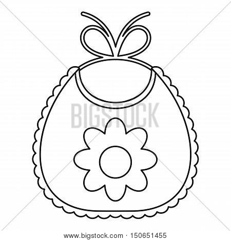 Baby bib with flower icon in outline style on a white background vector illustration