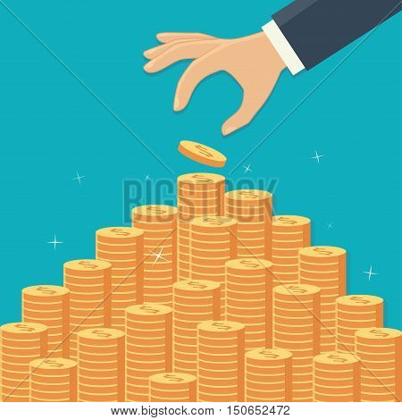 Hand with coin and money stairs. Vector flat illustration.