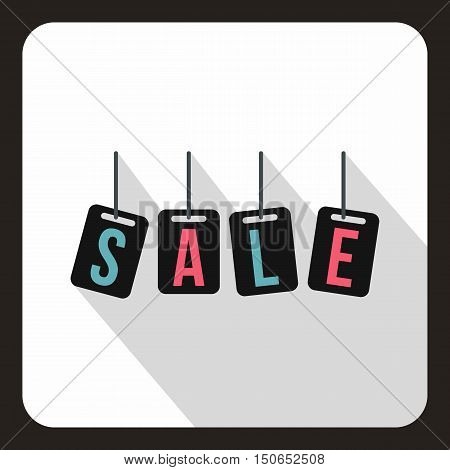 Hanging sales tags icon in flat style on a white background vector illustration