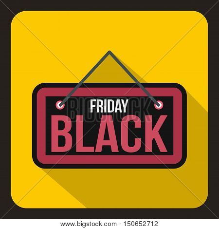 Black Friday signboard icon in flat style on a yelllow background vector illustration