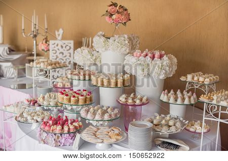 assortment of sweets. Candy bar.