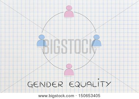 Gender Equality And Equal Opportunities, Team Of Men And Women