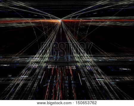 Abstract technology background - computer-generated image. Fractal geometry: grid and lines, like road to the horizon. Industry, technology or virtual reality concept.
