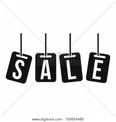 Hanging sales tags icon in simple style on a white background vector illustration